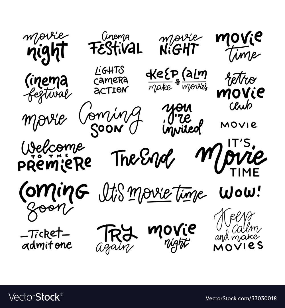 Set cinema movie film doodles and trendy