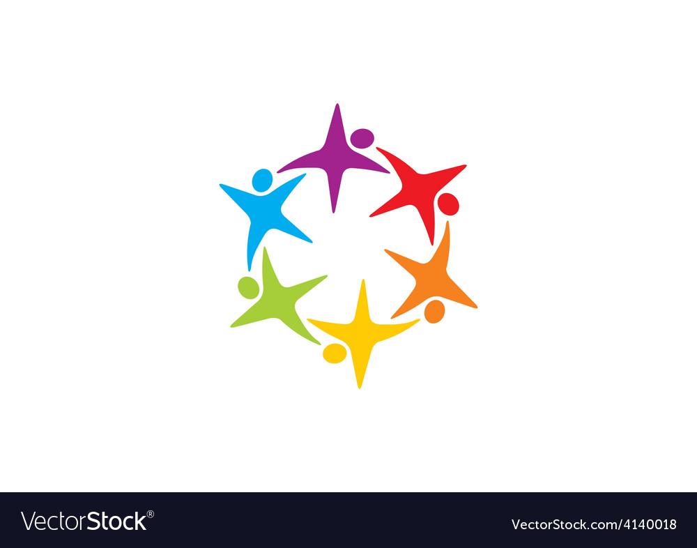 Star circular people teamwork logo