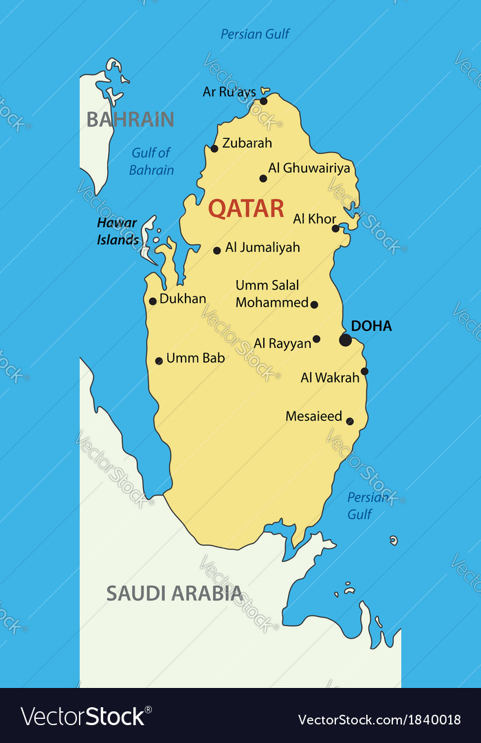 State of Qatar - map Royalty Free Vector Image on