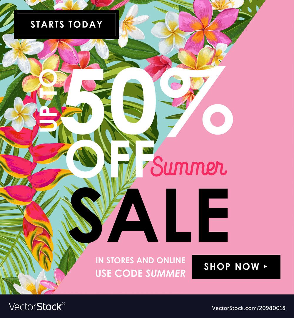 Summer sale tropical banner seasonal promotion
