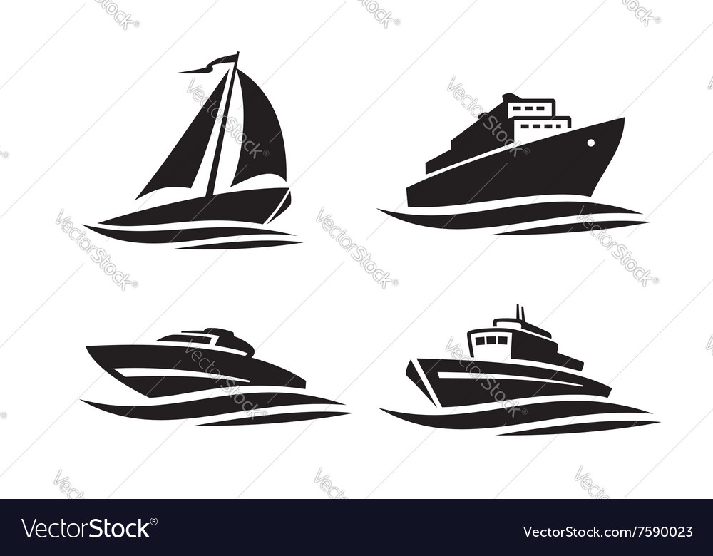 Black ships icons vector image