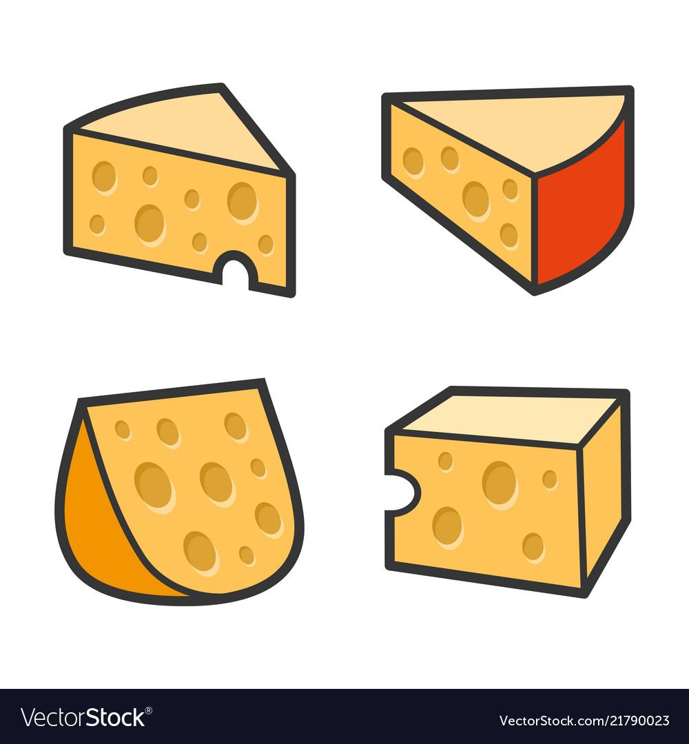 Cheese icon set on white background