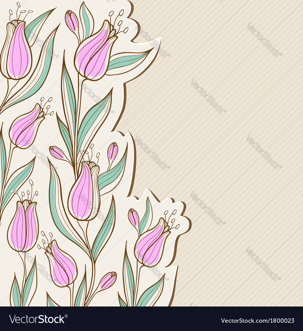 Decorative floral background with pink tulips