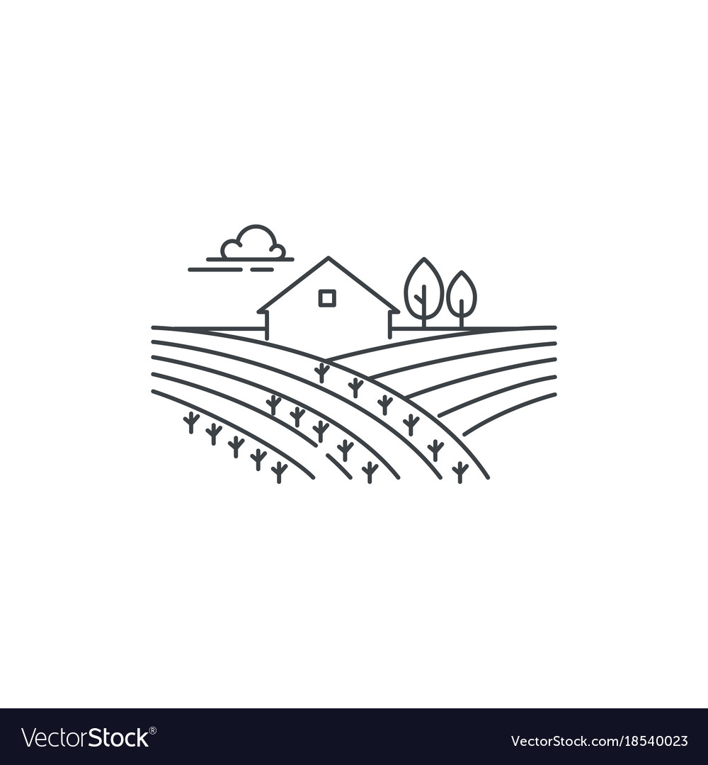 Farmhouse on the field line icon outline