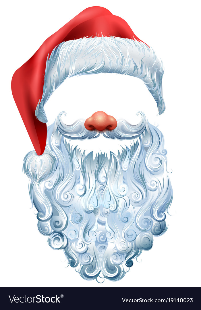 abb02e730da5d Hat beard and red nose mask santa claus Royalty Free Vector