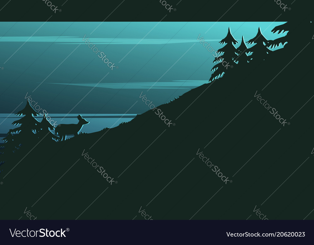 Landscape background with dark silhouettes
