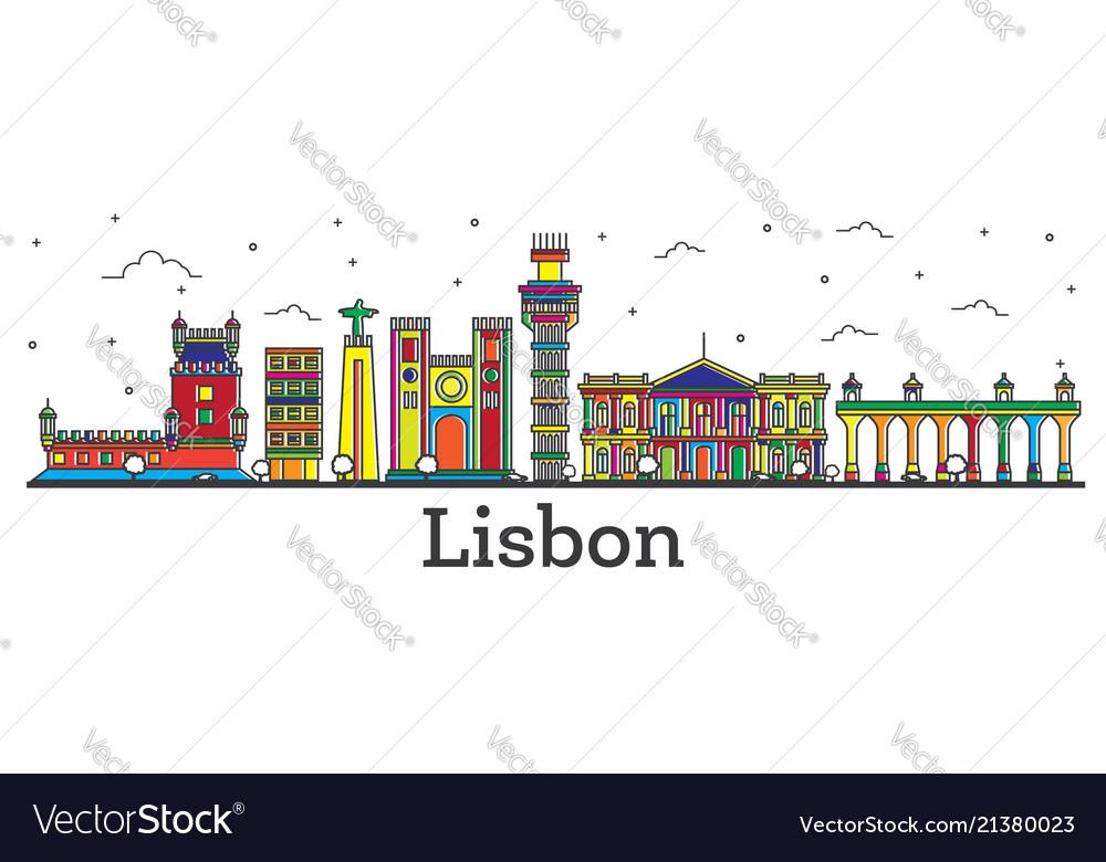 Outline lisbon portugal city skyline with color