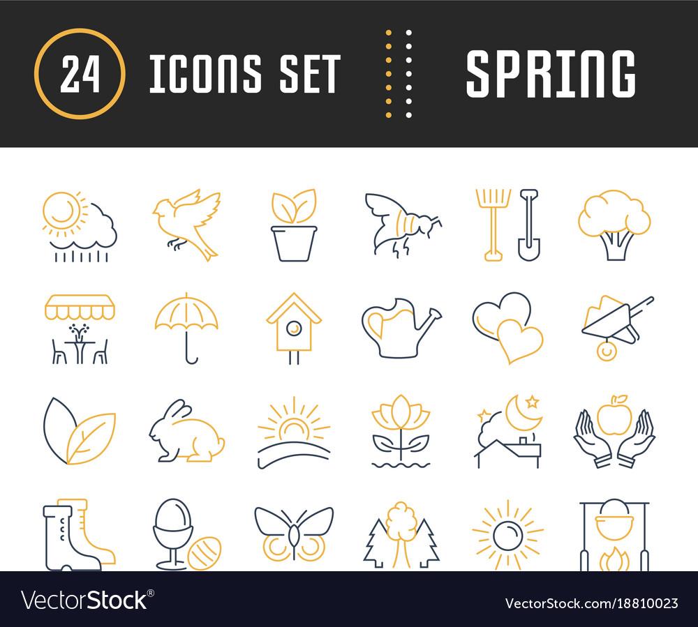 Set flat line icons spring
