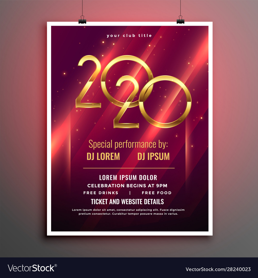 Shiny 2020 glowing flyer template for party event