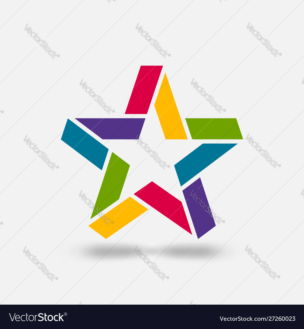 Star ribbon symbol in rainbow colors