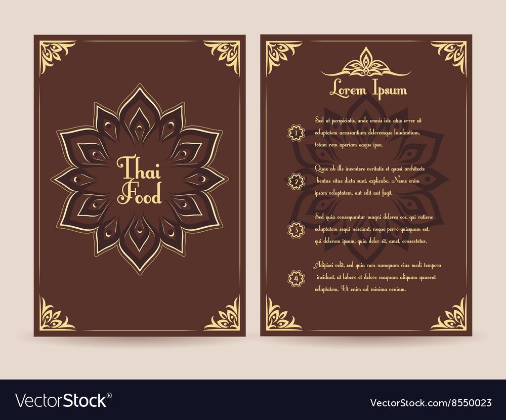 Thai Food Menu Template Royalty Free Vector Image