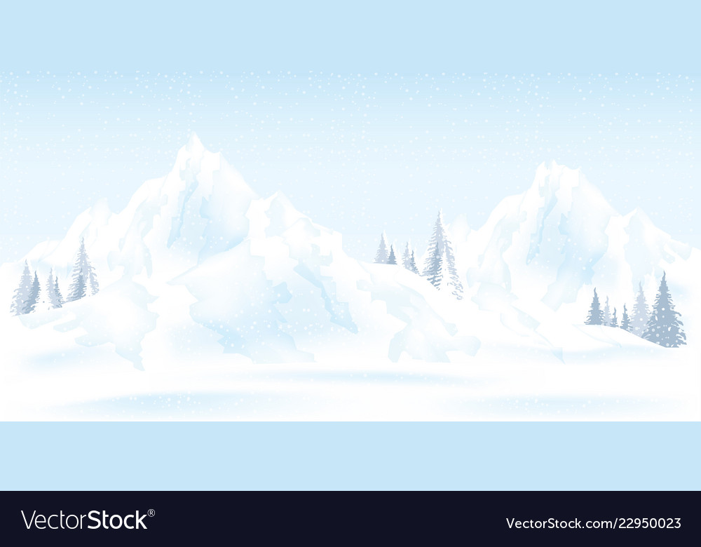 Watercolor of winter mountains landscape with