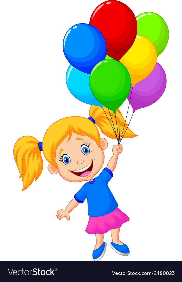Young Girl Cartoon Flying With Balloon Royalty Free Vector
