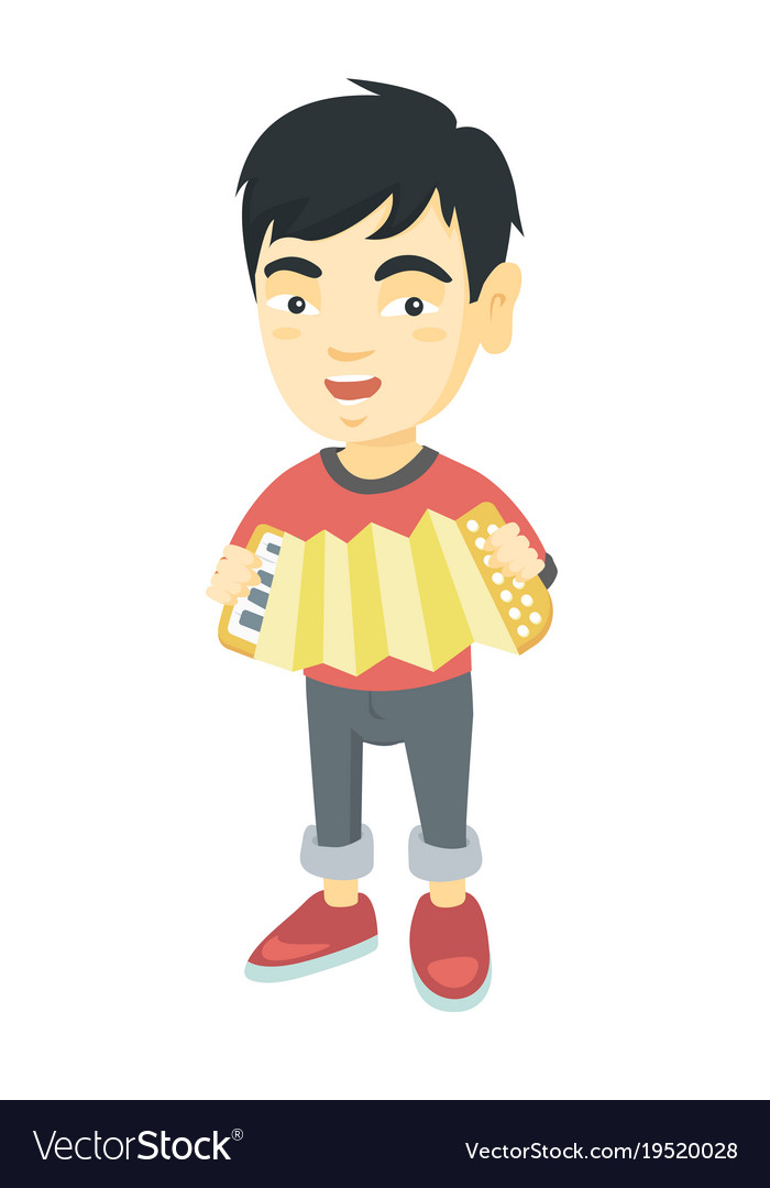 Asian boy playing the accordio vector image