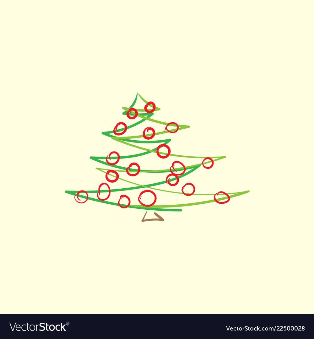 Drawn abstract christmas tree