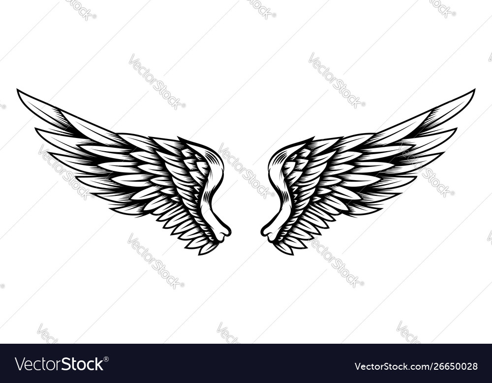eagle wings in tattoo style isolated on white vector image vectorstock