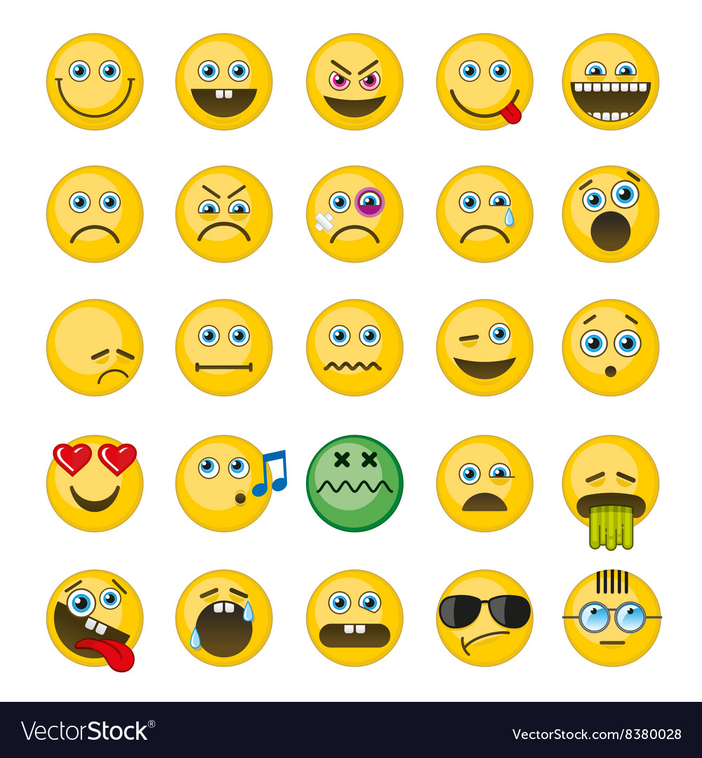 Emoji emoticons icons set vector image
