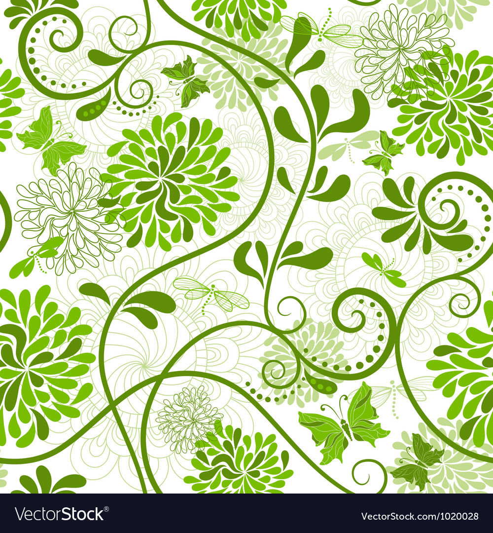 Green Seamless Floral Pattern Royalty Free Vector Image