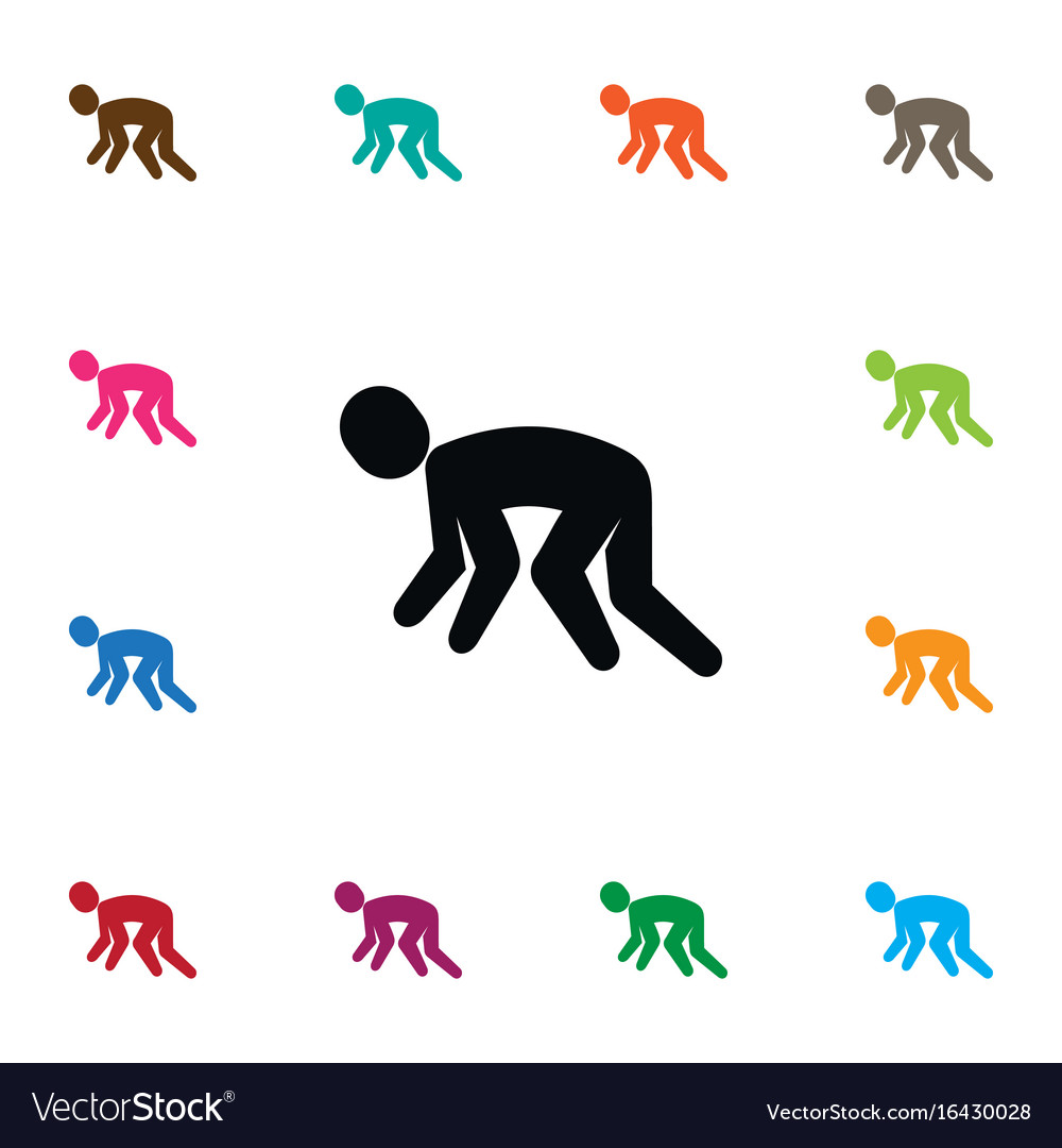 Isolated jogging icon exercise element can