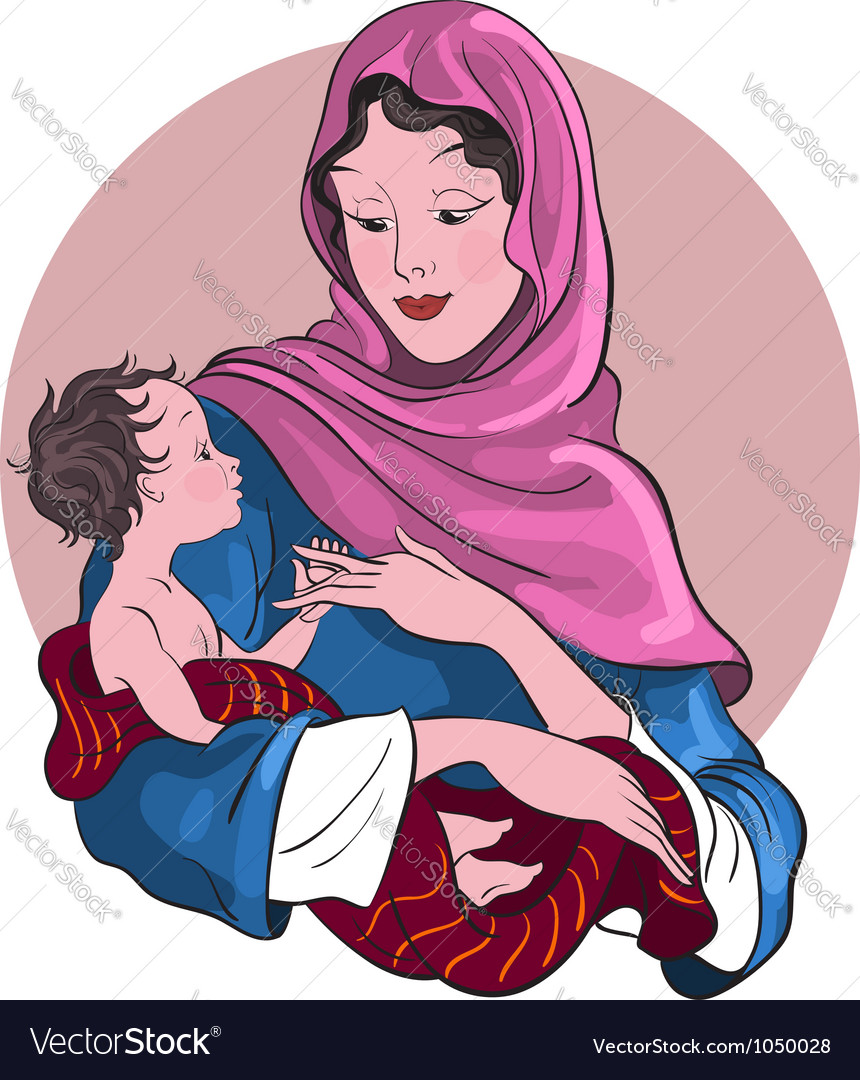 Madonna and child jesus christmas theme Royalty Free Vector