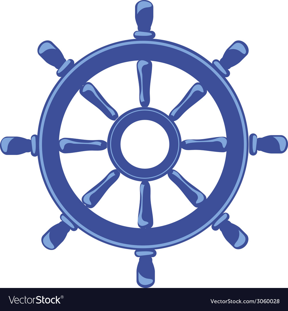Ship Wheel Banner isolated on white background