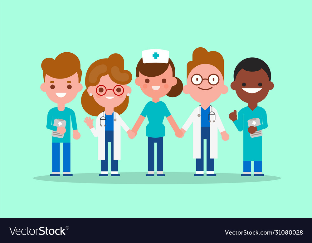 Team doctors nurse and medical workers holding