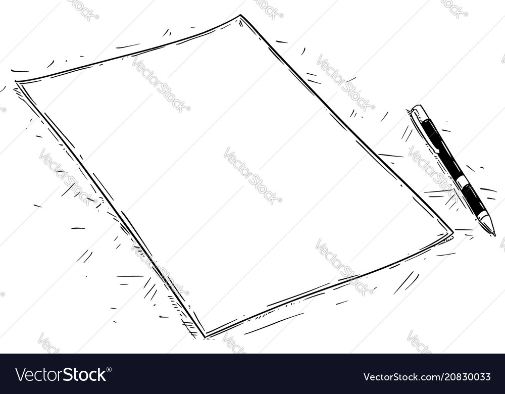 artistic drawing of empty or blank piece of paper vector image
