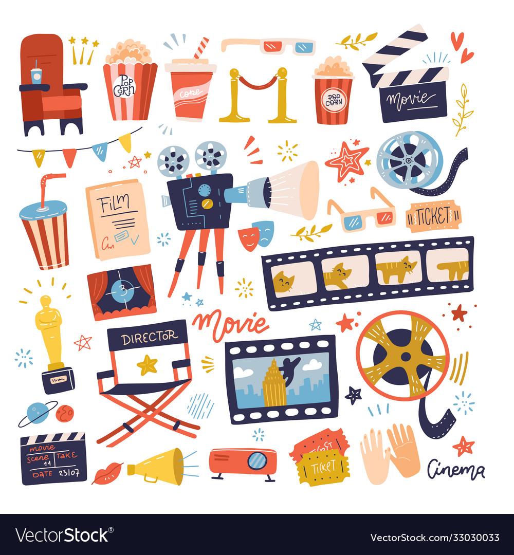 Big set icons on movie or cinema theme making