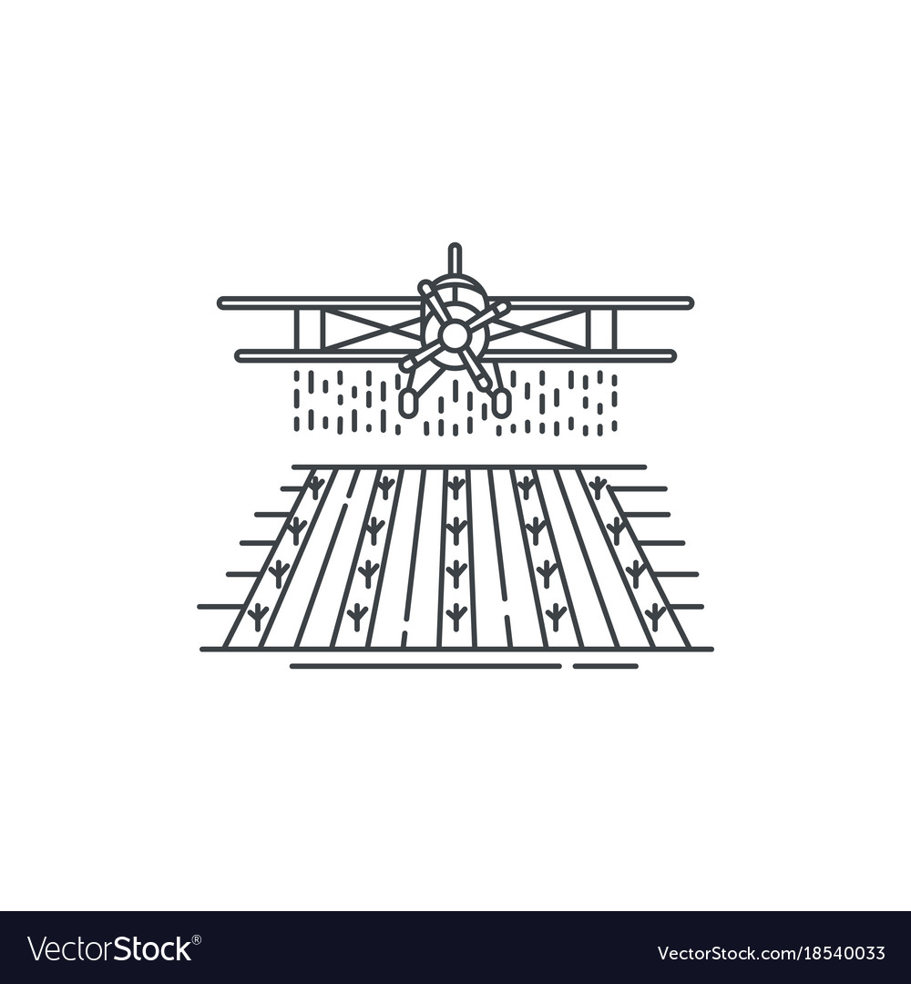 Farm crop duster above the field line icon vector image