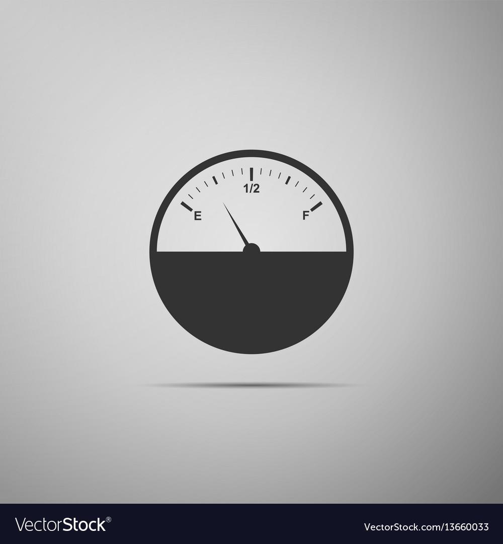 Fuel gauge flat icon on grey background vector image