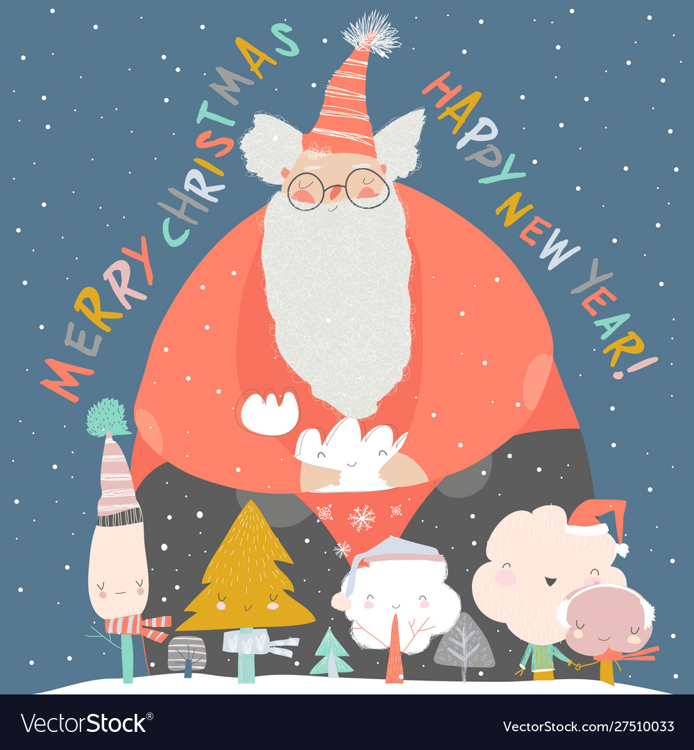 Funny santa claus with winter trees merry