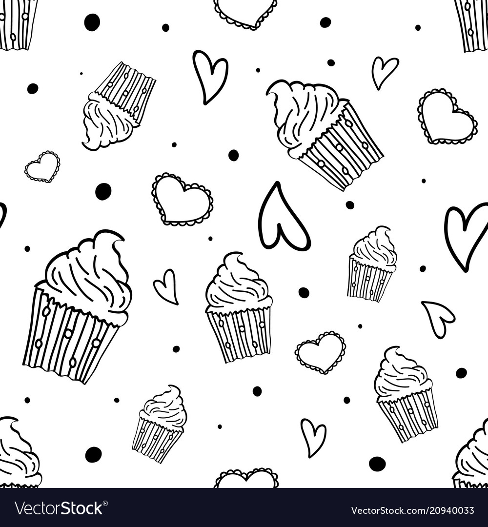 Hand drawn seamless pattern with cupcakes hearts