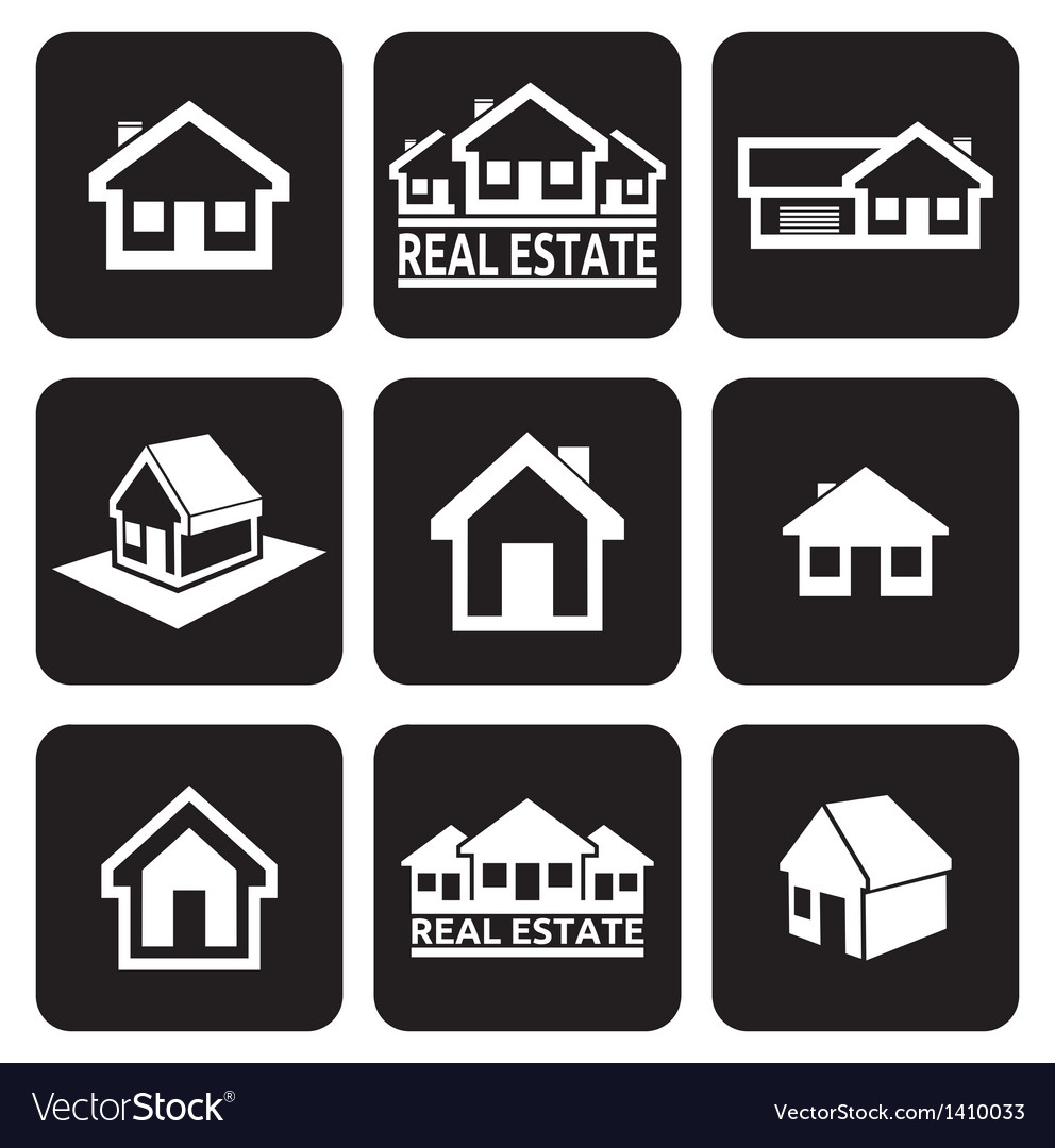 House icons set Real estate