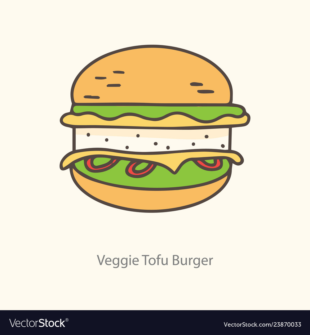 Isolated tofu burger icon symbol label