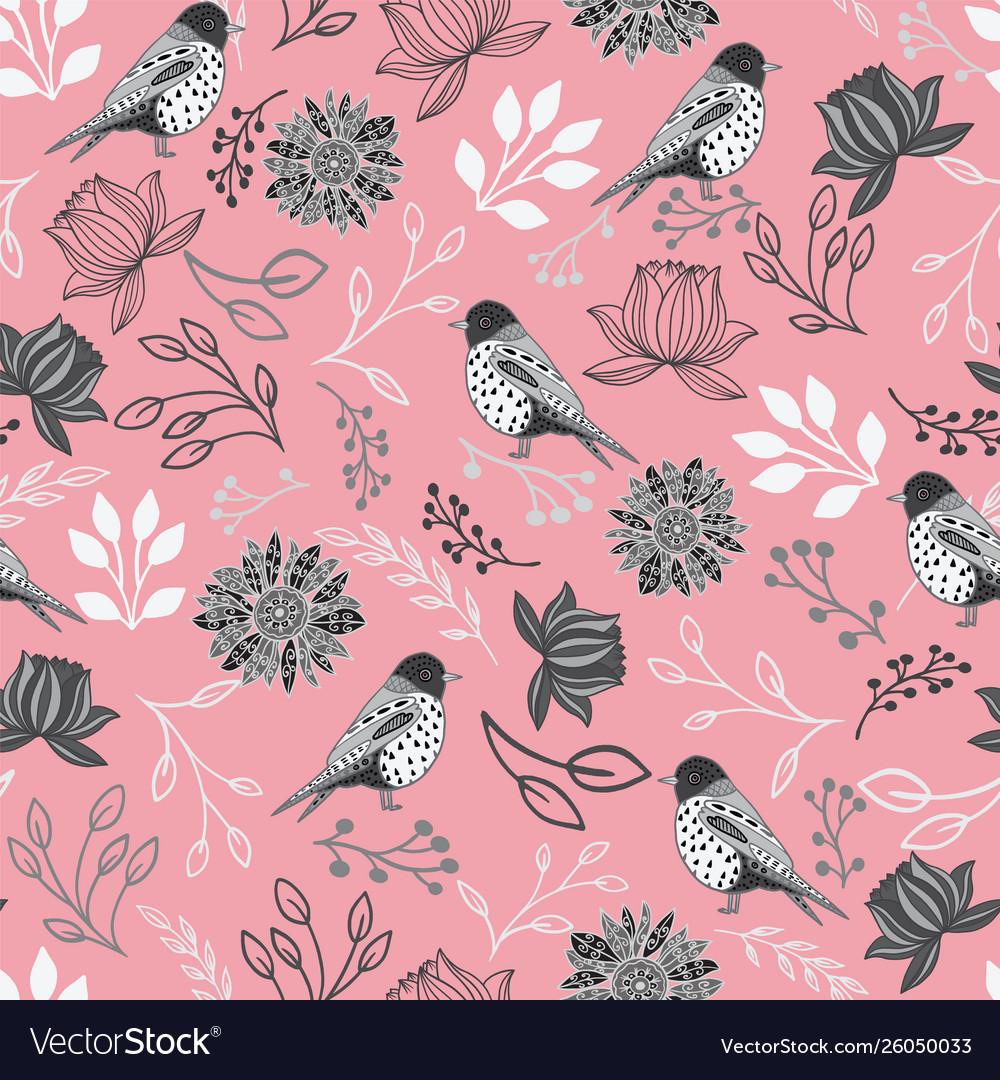 Line art birds and flowers seamless pattern