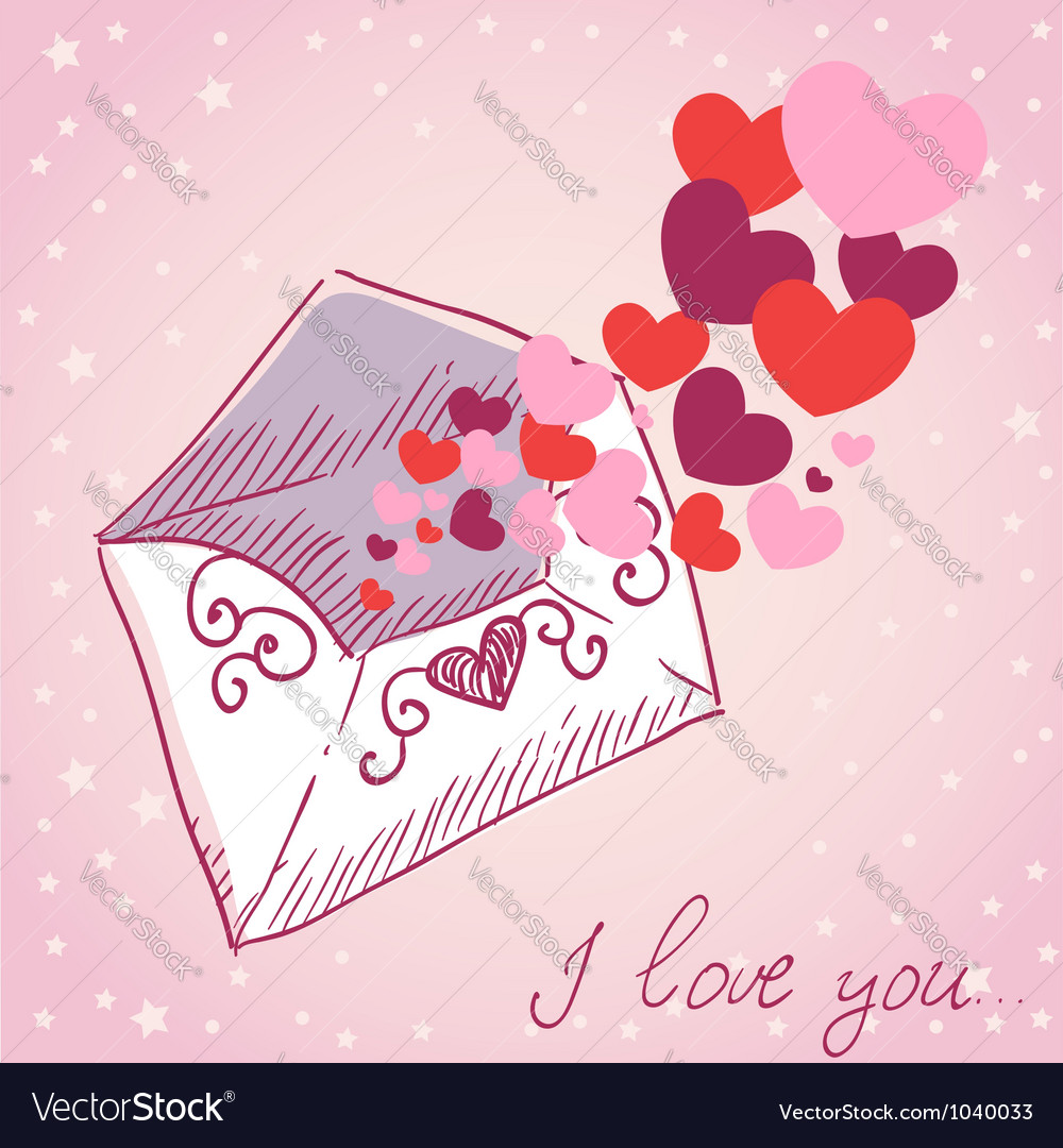 Love Letter Valentine Retro Card Royalty Free Vector Image