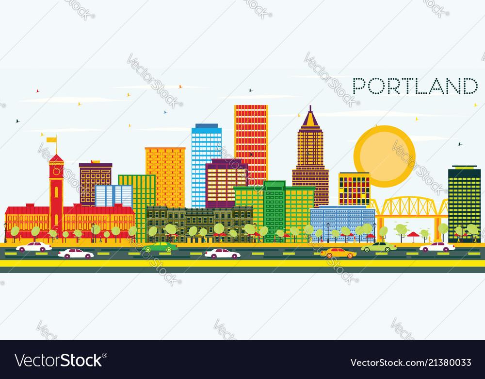 Portland oregon city skyline with color buildings