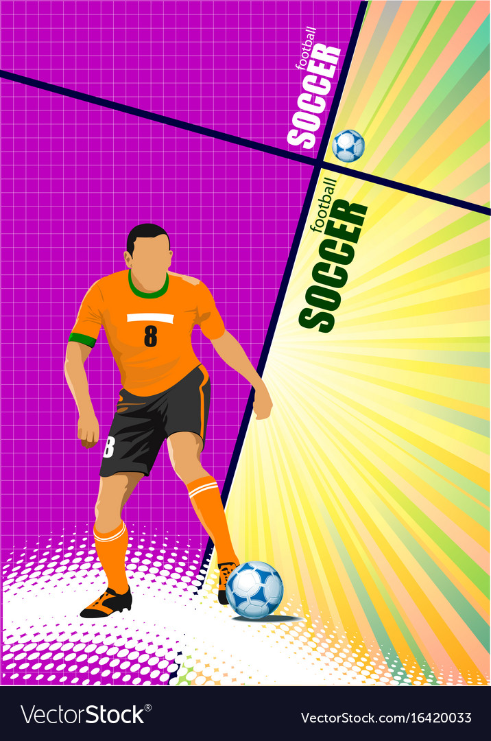 Poster of football player soccer colored for