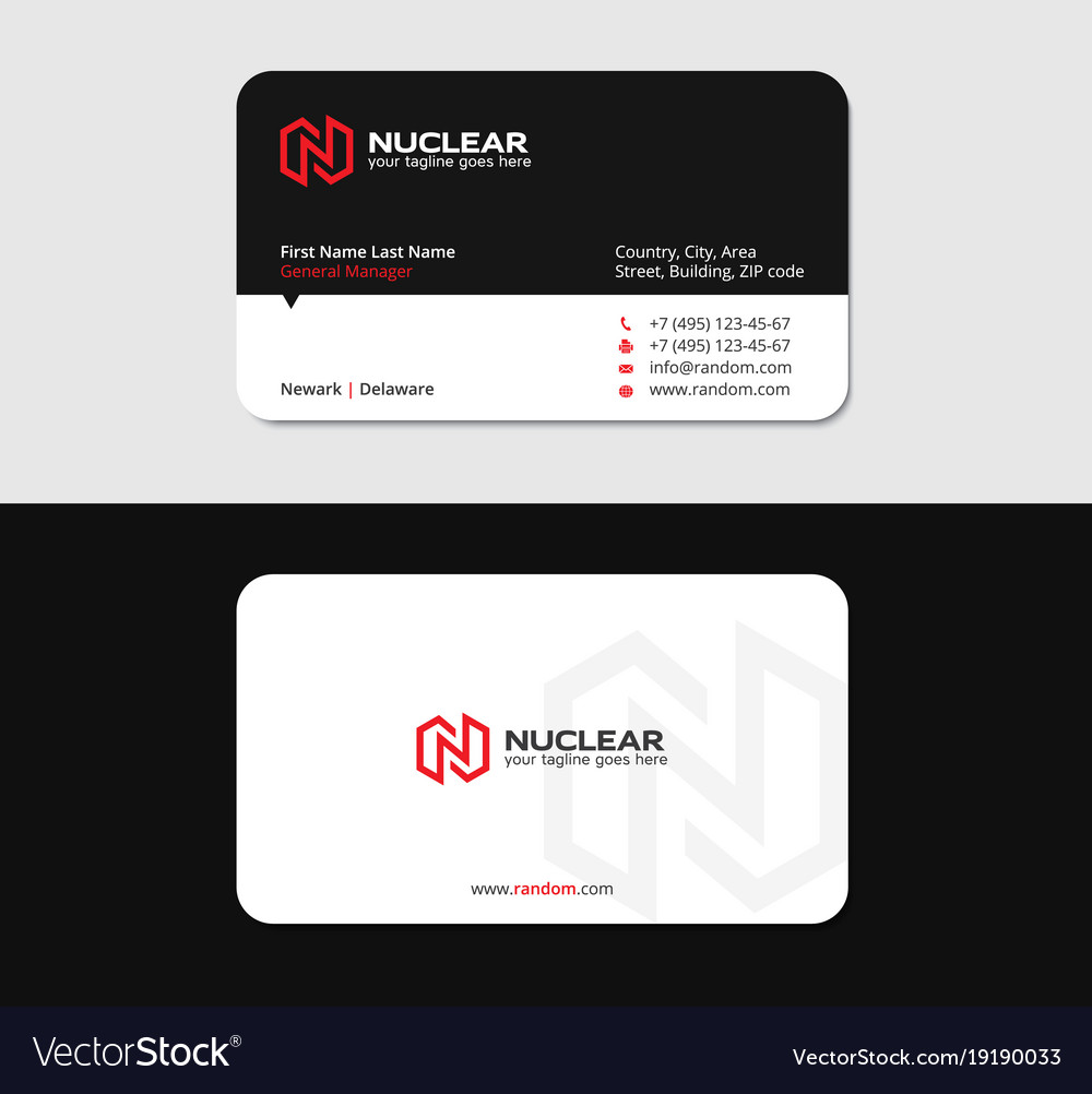 Powerful business card with red n letter vector image colourmoves