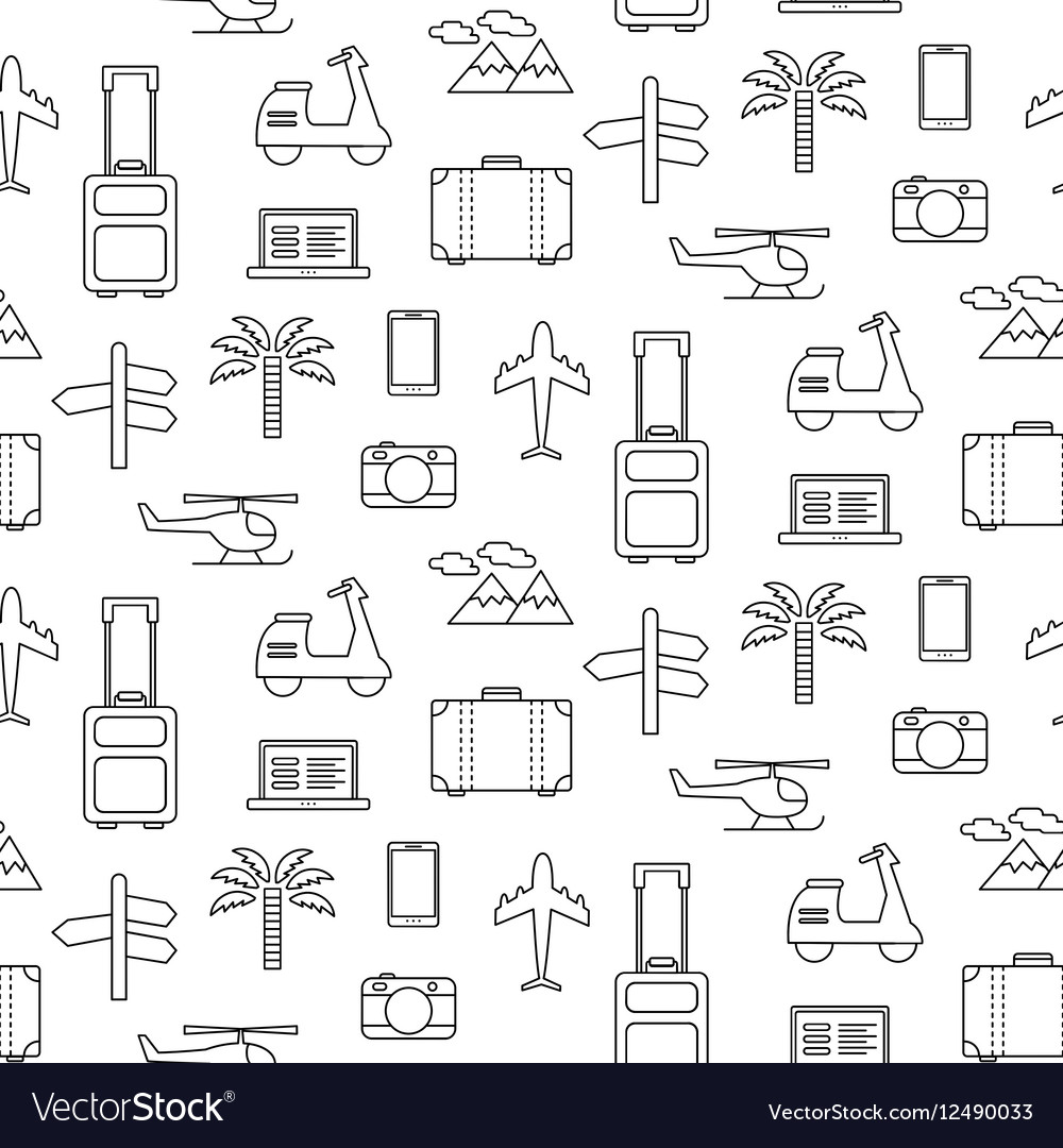 Seamless pattern with Travel icons set