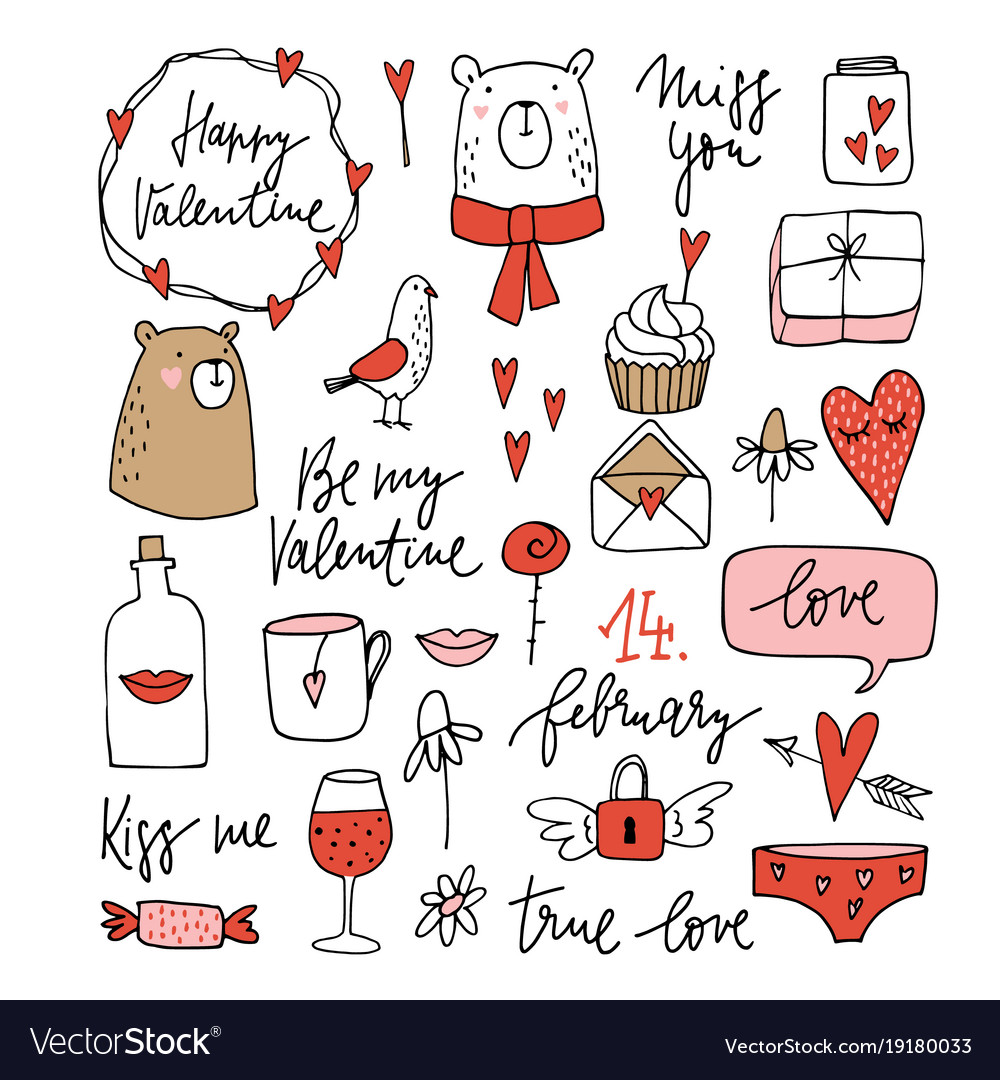Set of cute valentines doodle sketches wedding