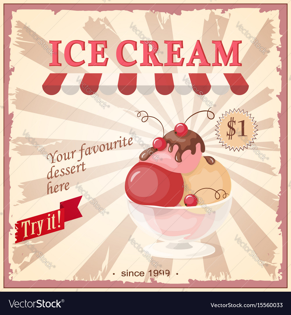 Vintage banner with current ice cream vector image