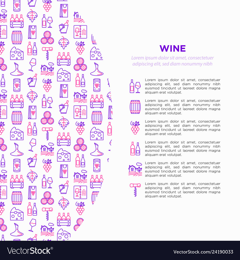 Wine concept with thin line icons