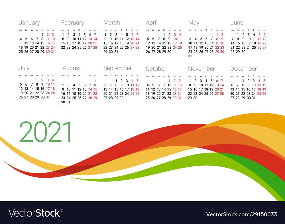 Year 2021 calendar design template Royalty Free Vector Image