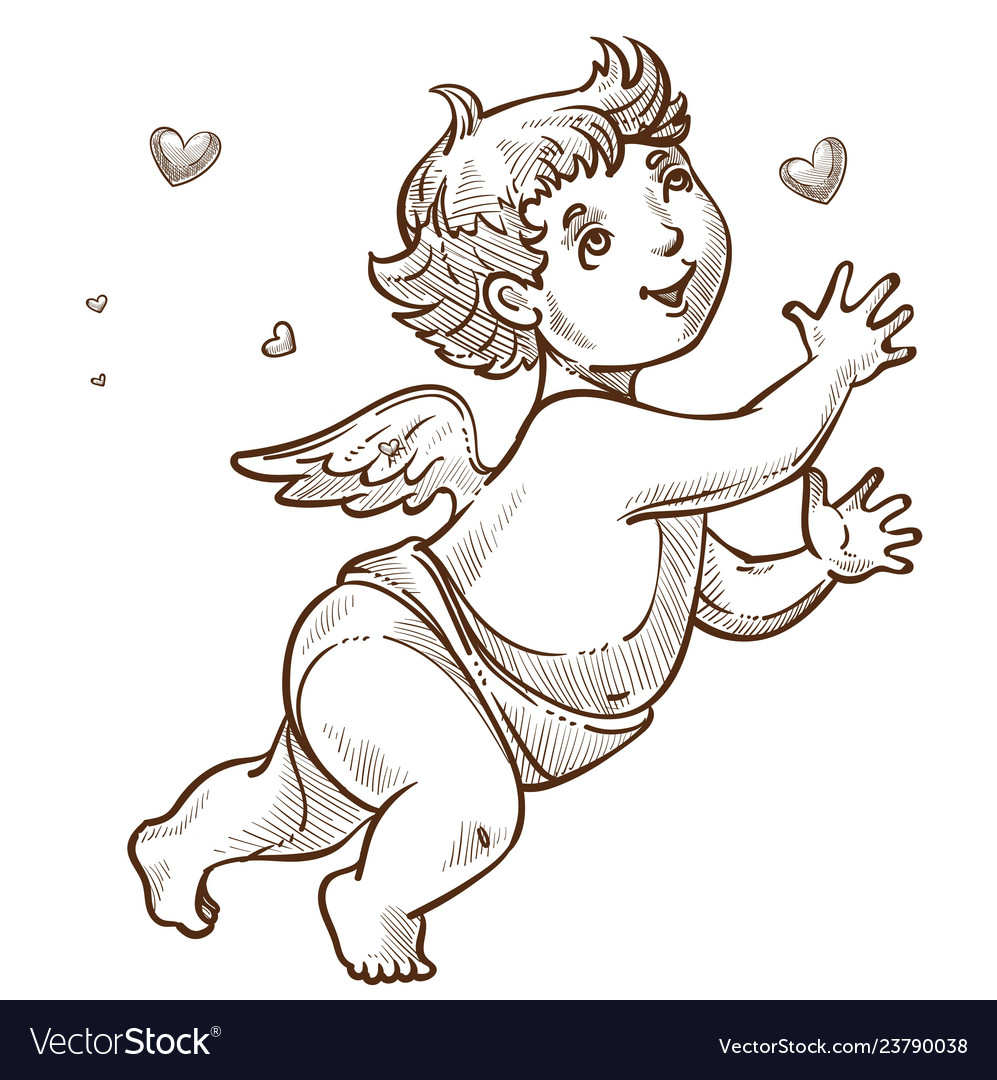 Angel or cupid with wings valentine day symbol