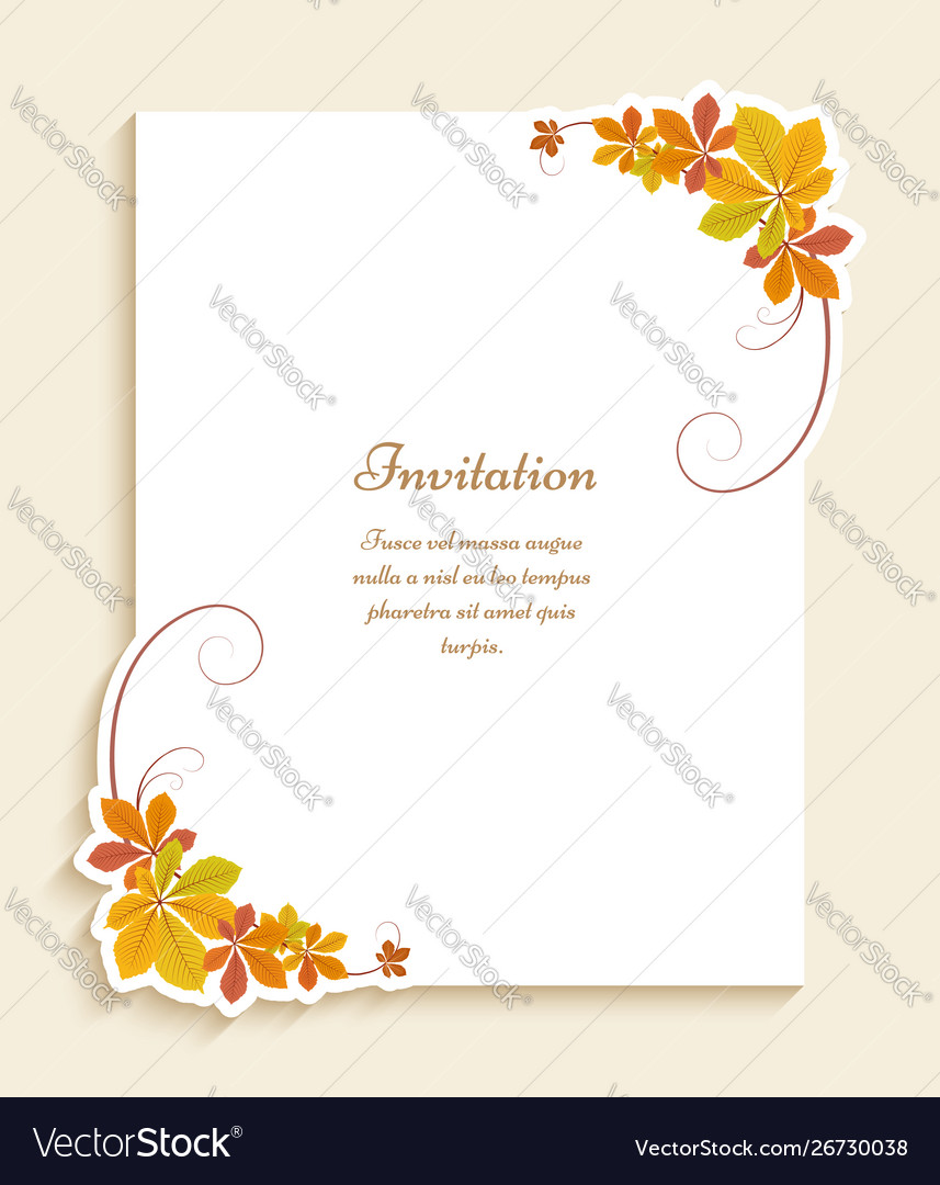 Autumn card with corners yellow leaves