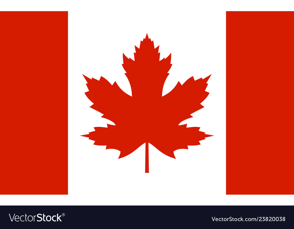 Canada flag with real red maple leaf