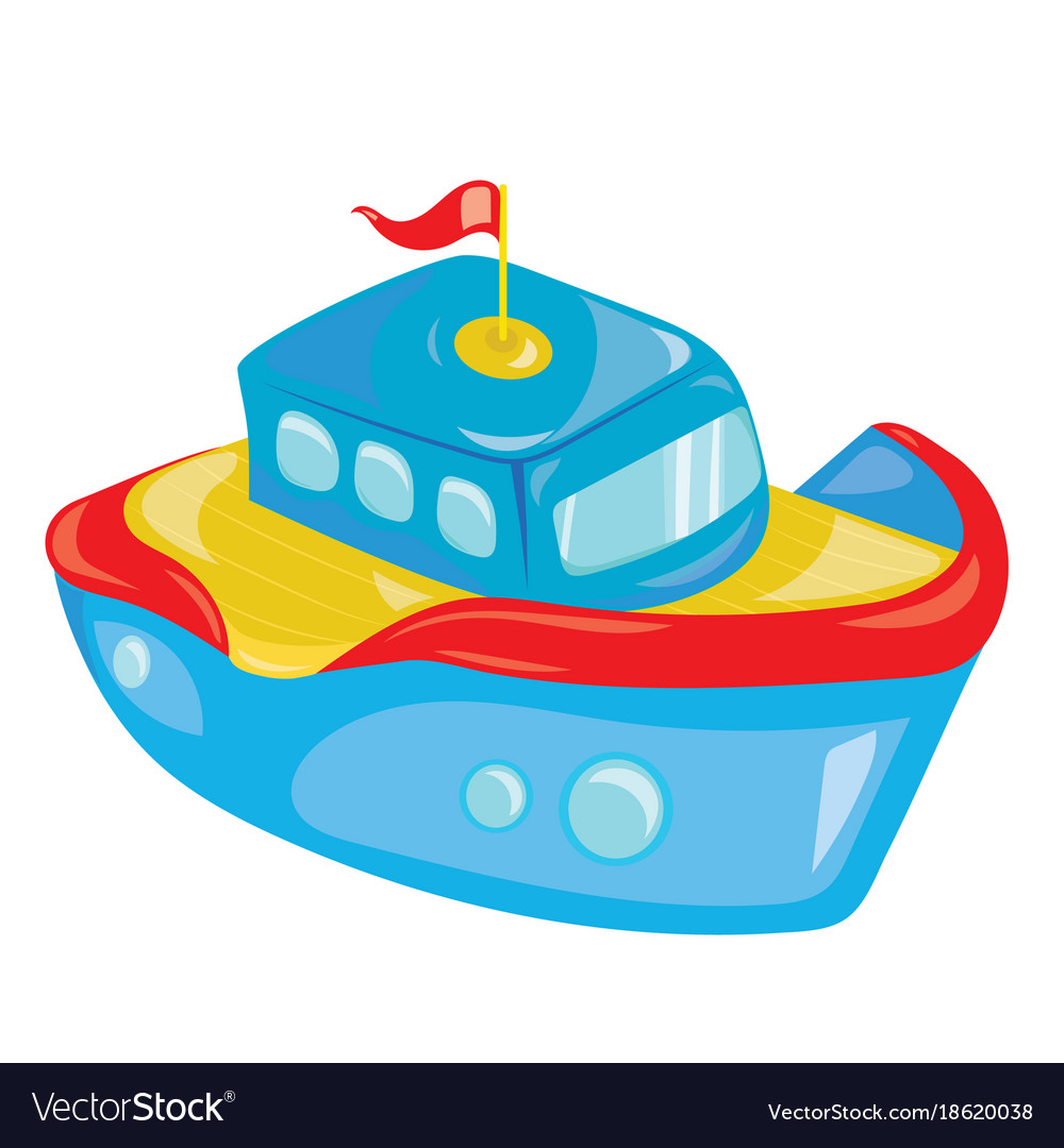 cartoon boat on white background a toy ship for vector image rh vectorstock com cartoon boat images cartoon dragon boat pictures