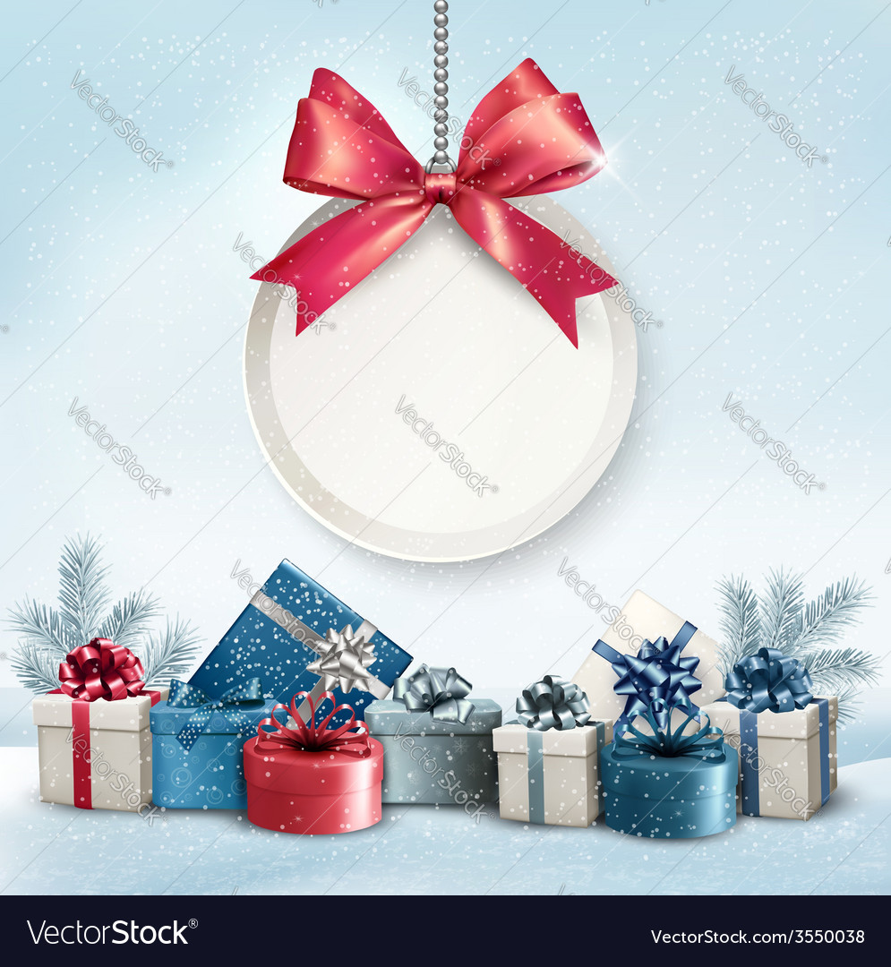Christmas presents with a label and a ribbon Vector Image