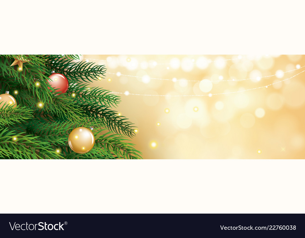 Christmas Tree With Gold Blur Bokeh Lights